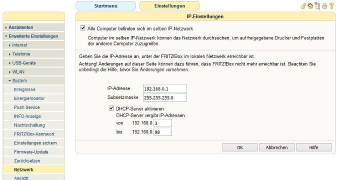 Portfreigabe DHCP